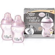 Dojčenská fľaša s obrázkami C2N 260 ml 2 ks - ružová