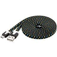 PremiumCord Kabel micro USB 2.0 propojovací A-B 2m plochý černo-modro-žlutý - Datový kabel
