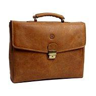 """dbramante1928 Leather Briefcase 14 """"Golden brown, brown"""