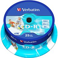Verbatim CD-R DataLife Protection 52x, Printable 25ks cakebox - Média