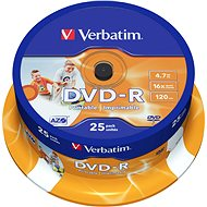 Verbatim DVD-R 16x, Printable 25 ks cakebox