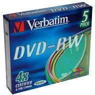 Verbatim DVD-RW 4x, COLOURS 5pcs in SLIM box