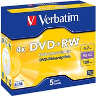 Verbatim DVD+RW 4x, 5ks v krabičce