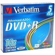 Verbatim DVD+R 16x, COLOURS 5pcs in SLIM box