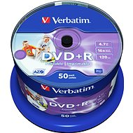 Verbatim DVD+R 16x, Printable 50 ks cakebox