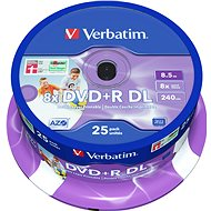 Verbatim DVD + R 8x Dual Layer Printable 25pcs cakebox
