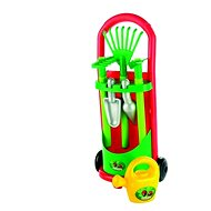Trolley with garden tools and a pot