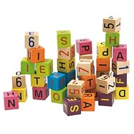 Woody Cubes with letters and numbers