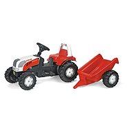 Šliapací traktor Rolly Kid Steyer s vlečkou - červený - Šliapací traktor