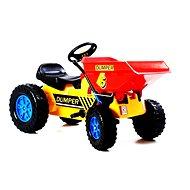 Šliapací traktor G21 Classic s čelným nosičom žlto / modrý