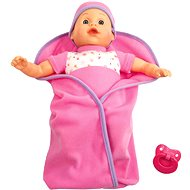 Talking doll in swaddling clothes - pink
