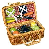 Picnic basket with colorful ceramic dishes