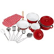 Children's metal dishes - red