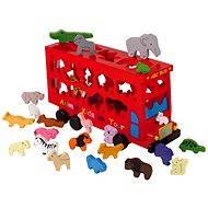 Vkládačka - Dřevěný autobus se zvířátky - Didaktická hračka