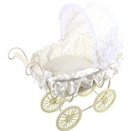 Wooden toys - Wicker pram with white lace