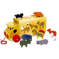 Vkládačka - Dřevěný náklaďák se zvířaty Zoo - Didaktická hračka