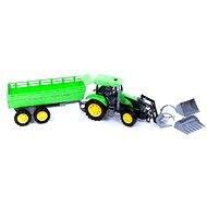 Traktor zelený s přívěsem a radlicí - Traktor