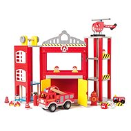 Woody large fire station with toy cars
