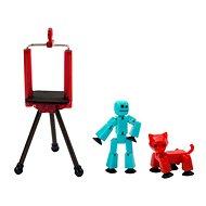 StikBot sada figurka + zvířátko se stativem – tyrkysová a červená