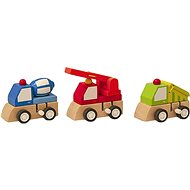 Woody Natahovací autíčko - stavební stroje - Didaktická hračka