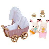 Sylvanian Families Chocolate rabbit furniture - twin in a stroller - Play Set