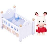Sylvanian Families Nábytek chocolate králíků – baby králík v postýlce - Herní set