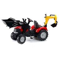 Traktor červený Case IH Puma s přední i zadní lžící - Šlapací traktor