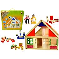 Wooden house + figurines + equipment - Dollhouse