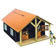 Mikro Trading Kids Globe Stáj pro koně s dílnou - hnědá - Dřevěný model