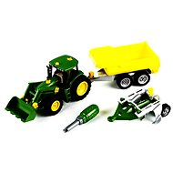 Klein John Deere tractor with tipping trailer and plow