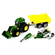 Klein John Deere Traktor mit Kipp-Anhänger und Pflug
