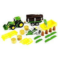 Klein John Deere Tractor with 3 tipper trailers and plow