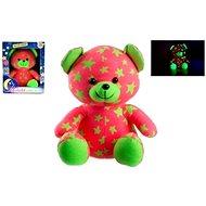 Teddies Medvídek svítící ve tmě růžovo-zelený - Plyšová hračka