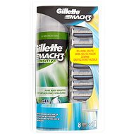 GILLETTE Mach3 8ks + Gel na holení Sensitive 200 ml