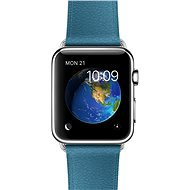 Apple Watch 42 mm stainless steel with a nautical blue strap with classic buckle