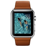 Apple Watch 42 mm stainless steel strap with saddle-brown with a traditional buckle