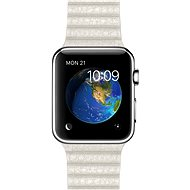 Apple Watch 42 mm stainless steel with a white leather strap - size M