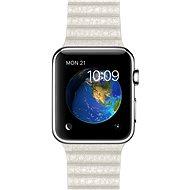 Apple Watch 42 mm Antikorová oceľ s bielym koženým remienkom - veľkosť M