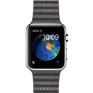 Apple Watch 42mm Nerez ocel s bouřkově šedým koženým řemínkem - velikost M