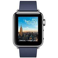 Apple Watch Series 2 38mm Nerezová oceľ s polnočnej modrým remienkom s modernou prackou - stredná