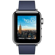 Apple Watch Series 2 38mm Nerezová oceľ s polnočnej modrým remienkom s modernou prackou - veľký