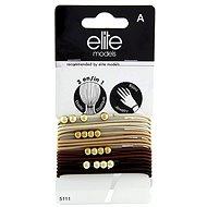 ELITE MODELS gumičkový náramky 2v1 Hnedé odtiene - zlaté guličky 16 ks