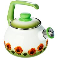 Metalac enameled teapot 2.5 l, sunflower decor
