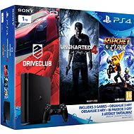 Sony Playstation 4 - 1TB Slim + 3 hry ( Uncharted 4, Driveclub, Ratchet and Clank) - Herní konzole