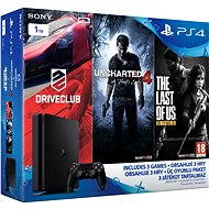 Sony Playstation 4 - 1 TB Slim + 3 hry (Uncharted 4, Driveclub, The Last of Us)