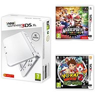 Nintendo NEW 3DS XL Pearl White + Mario Sports Superstars + YO-KAI WATCH 2: Bony Spirits - Herní konzole