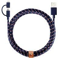 Native Union Belt Lightning MicroUSB 2m modrý - Datový kabel