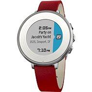 Pebble Time Round stříbrno-červené - Chytré hodinky
