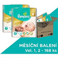 Pampers Premium Care MB Newborn + Mini (168 ks) - mesačná zásoba