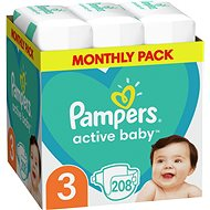 PAMPERS Active Baby-Dry vel. 3 Midi (208 ks)